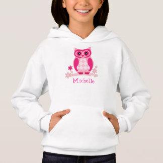Custom Name Pink Owl Gift Hoodie