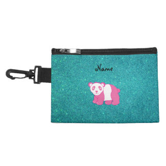 Custom name pink panda turquoise glitter accessories bag