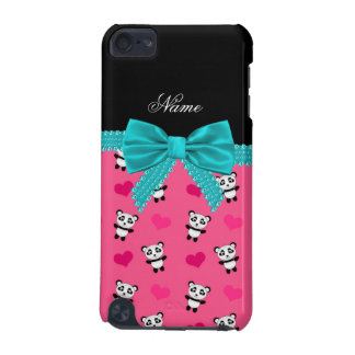 Custom name pink pandas hearts turquoise bow iPod touch 5G case