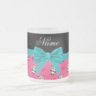 Custom name pink pandas hearts turquoise bow coffee mug
