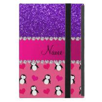 Custom name pink penguins indigo purple glitter cover for iPad mini