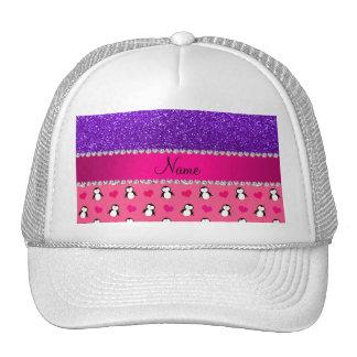 Custom name pink penguins indigo purple glitter trucker hat