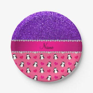 Custom name pink penguins indigo purple glitter 7 inch paper plate