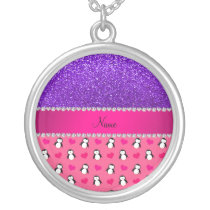 Custom name pink penguins indigo purple glitter silver plated necklace