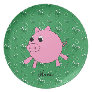 Custom name pink pig green candy canes snowmen dinner plate