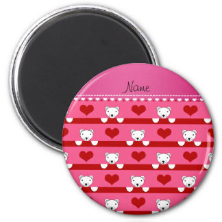 Custom name pink polar bears red hearts stripes 2 inch round magnet