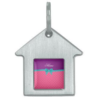Custom name pink polka dots turquoise bow pet name tag