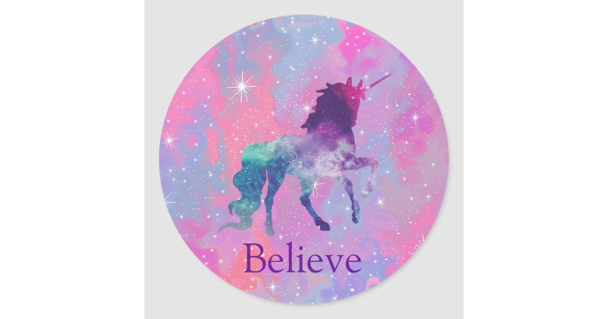 Custom Name Pink Purple Galaxy Unicorn Sticker Zazzle Com