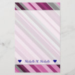[ Thumbnail: Custom Name + Pink/Purple/Grey Stripes Stationery ]