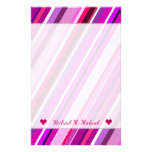 [ Thumbnail: Custom Name + Pink, Purple Stripes Pattern Stationery ]