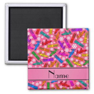 Custom name pink rainbow bobsleigh snowflakes 2 inch square magnet