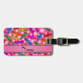Custom name pink rainbow bobsleigh snowflakes bag tag