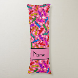 Custom name pink rainbow bobsleigh snowflakes body pillow