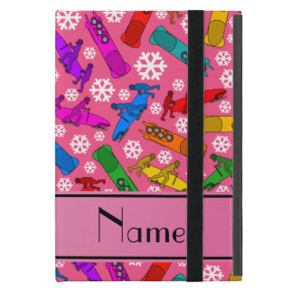 Custom name pink rainbow bobsleigh snowflakes cover for iPad mini