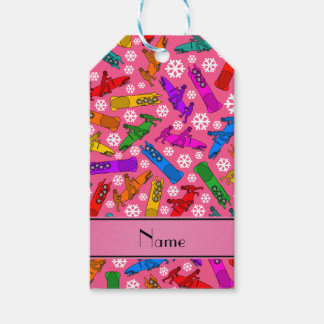 Custom name pink rainbow bobsleigh snowflakes gift tags