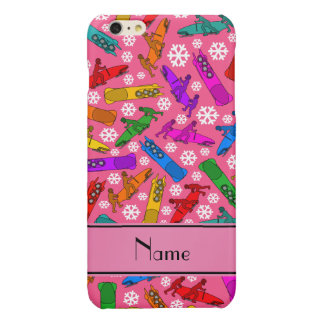 Custom name pink rainbow bobsleigh snowflakes glossy iPhone 6 plus case