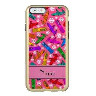 Custom name pink rainbow bobsleigh snowflakes incipio feather® shine iPhone 6 case