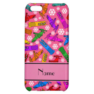Custom name pink rainbow bobsleigh snowflakes iPhone 5C cover