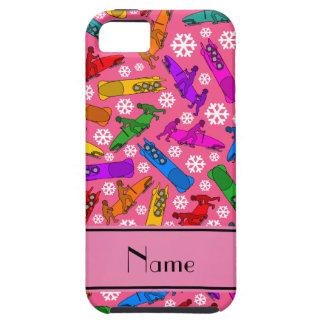 Custom name pink rainbow bobsleigh snowflakes iPhone SE/5/5s case