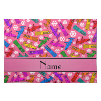 Custom name pink rainbow bobsleigh snowflakes placemat