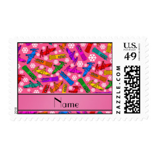 Custom name pink rainbow bobsleigh snowflakes postage