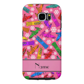 Custom name pink rainbow bobsleigh snowflakes samsung galaxy s6 case