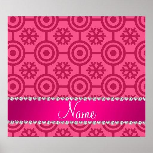Custom name pink retro snowflakes poster