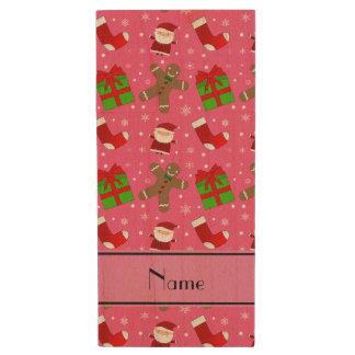 Custom name pink santas gingerbread wood USB 2.0 flash drive