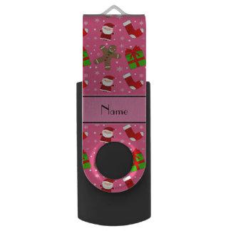 Custom name pink santas gingerbread swivel USB 2.0 flash drive