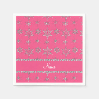 Custom name pink silver snowflakes pink stripe paper napkins