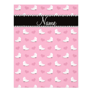 "Custom name pink skates and hearts 8.5"" x 11"" flyer"