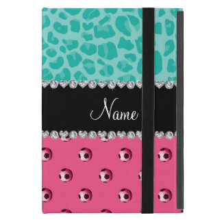 Custom name pink soccer ball seafoam green leopard cover for iPad mini