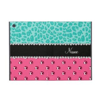 Custom name pink soccer ball seafoam green leopard iPad mini case