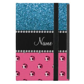 Custom name pink soccer balls sky blue glitter case for iPad mini