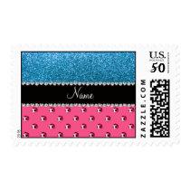 Custom name pink soccer balls sky blue glitter postage