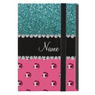 Custom name pink soccer balls turquoise glitter case for iPad mini