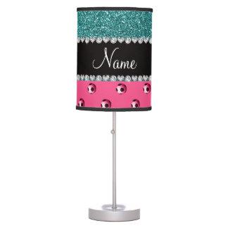 Custom name pink soccer balls turquoise glitter desk lamp