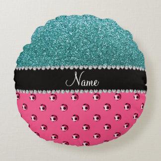 Custom name pink soccer balls turquoise glitter round pillow