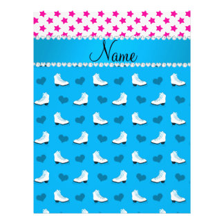 "Custom name pink stars sky blue skates and hearts 8.5"" x 11"" flyer"