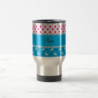 Custom name pink stars sky blue skates and hearts travel mug