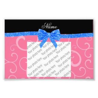 Custom name pink swirls blue glitter bow photographic print