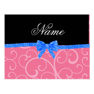 Custom name pink swirls blue glitter bow postcard