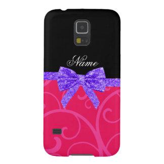 Custom name pink swirls purple glitter bow galaxy nexus covers