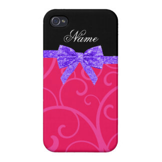 Custom name pink swirls purple glitter bow iPhone 4 covers