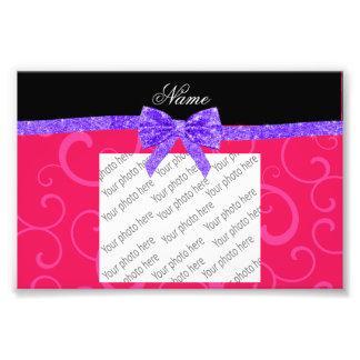 Custom name pink swirls purple glitter bow photographic print