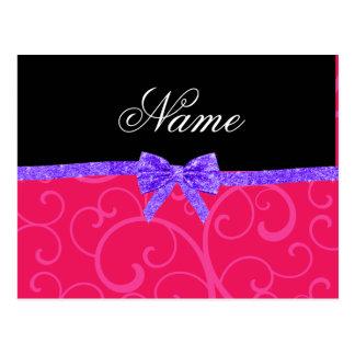 Custom name pink swirls purple glitter bow postcards
