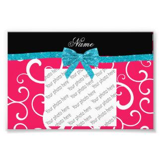Custom name pink swirls turquoise glitter bow photo art