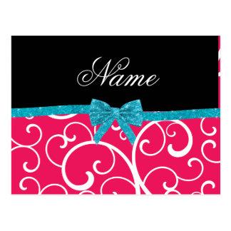 Custom name pink swirls turquoise glitter bow post card