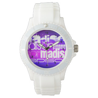 Custom Name; Pink, Violet Blue, Magenta, purple Wrist Watch
