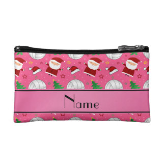 Custom name pink volleyball christmas pattern cosmetics bags